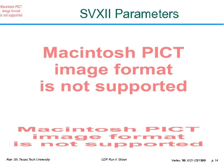 SVXII Parameters Alan Sill, Texas Tech University CDF Run II Silicon Vertex ' 99,