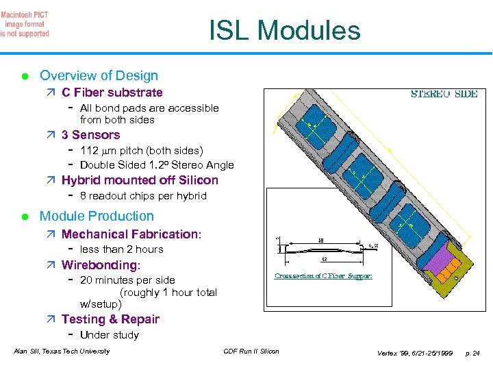 ISL Modules l Overview of Design ä C Fiber substrate - All bond pads