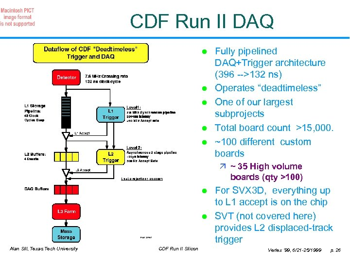 CDF Run II DAQ l l l Fully pipelined DAQ+Trigger architecture (396 -->132 ns)