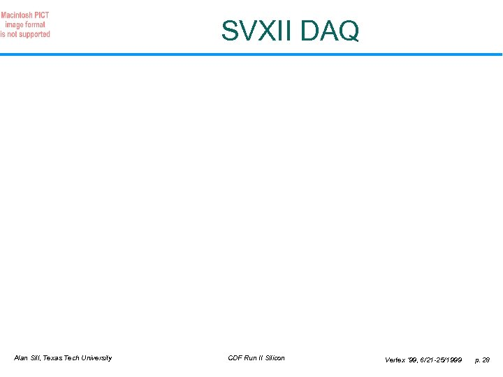SVXII DAQ Alan Sill, Texas Tech University CDF Run II Silicon Vertex ' 99,
