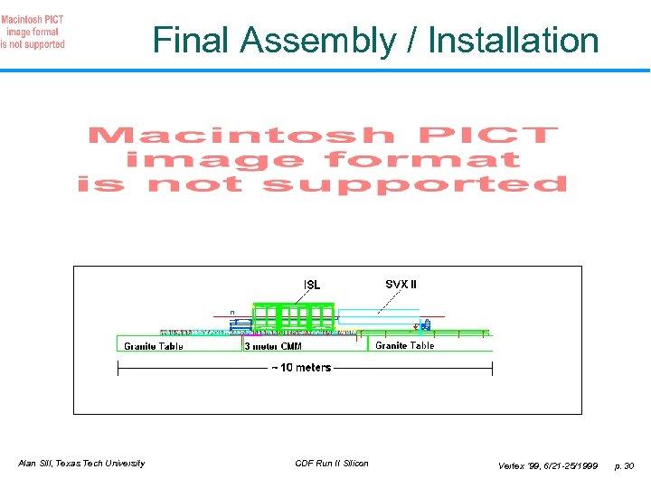 Final Assembly / Installation Alan Sill, Texas Tech University CDF Run II Silicon Vertex