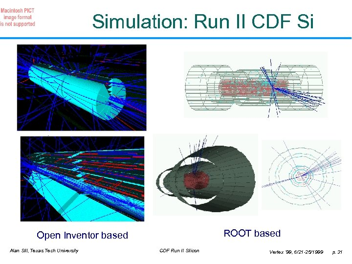 Simulation: Run II CDF Si ROOT based Open Inventor based Alan Sill, Texas Tech