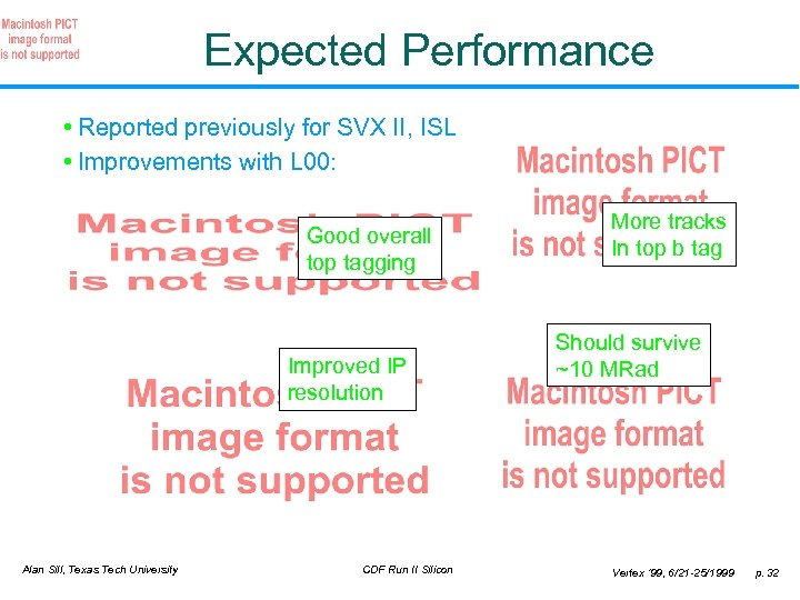 Expected Performance • Reported previously for SVX II, ISL • Improvements with L 00: