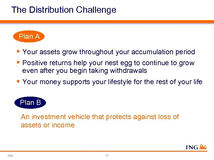 The Distribution Challenge Plan A § Your assets grow throughout your accumulation period §