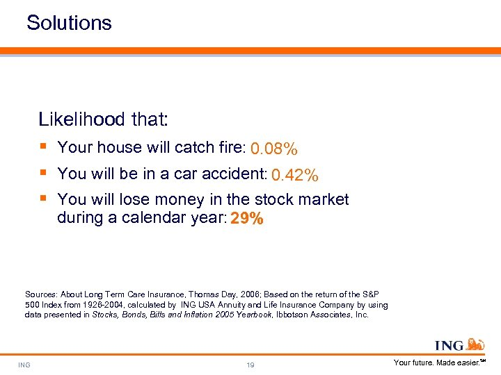 Solutions Likelihood that: § Your house will catch fire: 0. 08% § You will