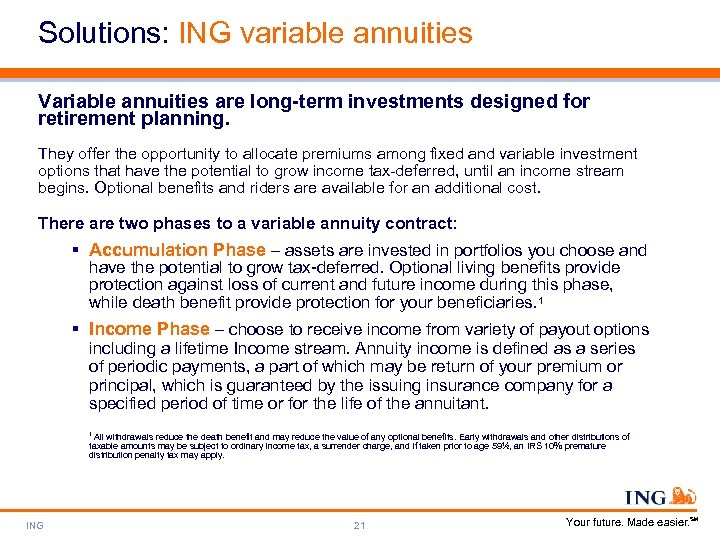 Solutions: ING variable annuities Variable annuities are long-term investments designed for retirement planning. They