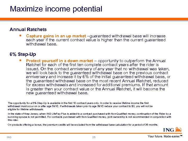 Maximize income potential Annual Ratchets § Capture gains in an up market –guaranteed withdrawal