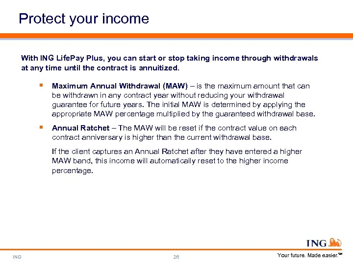 Protect your income With ING Life. Pay Plus, you can start or stop taking