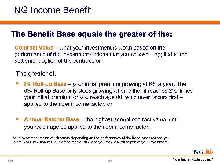 ING Income Benefit The Benefit Base equals the greater of the: Contract Value –