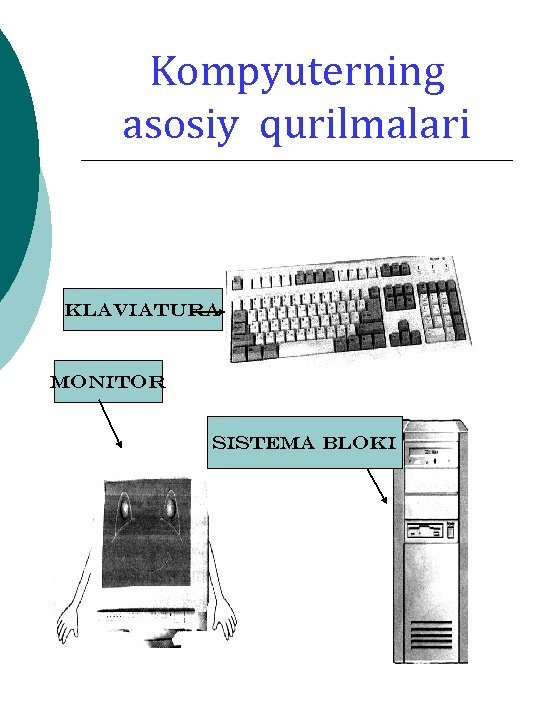 Kompyuterning asosiy qurilmalari Klaviatura Monitor Sistema bloki
