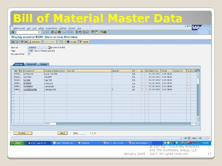 Bill of Material Master Data January 2008 © SAP AG - University Alliances and