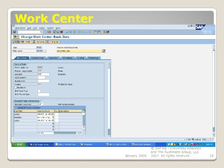 Work Center January 2008 © SAP AG - University Alliances and The Rushmore Group,