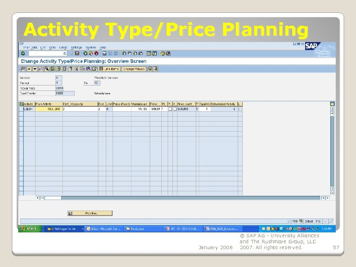 Activity Type/Price Planning January 2008 © SAP AG - University Alliances and The Rushmore