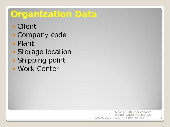Organization Data Client Company code Plant Storage location Shipping point Work Center January 2008