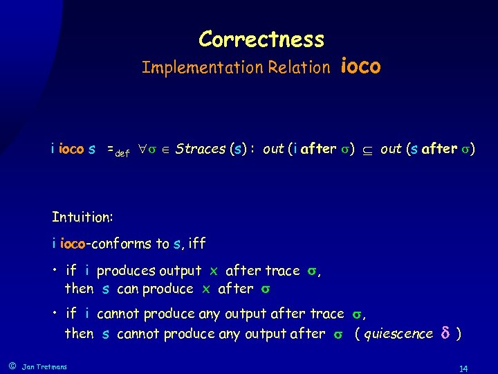 Correctness Implementation Relation ioco i ioco s =def Straces (s) : out (i after