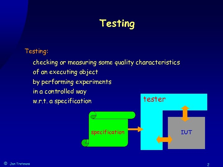 Testing: checking or measuring some quality characteristics of an executing object by performing experiments