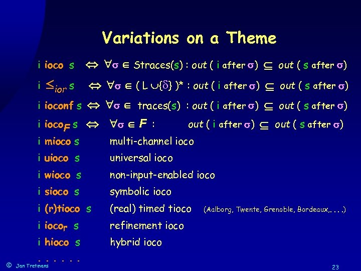 Variations on a Theme i ioco s Straces(s) : out ( i after )