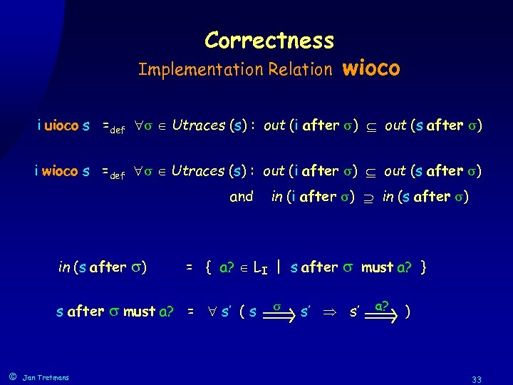 Correctness Implementation Relation wioco i uioco s =def Utraces (s) : out (i after