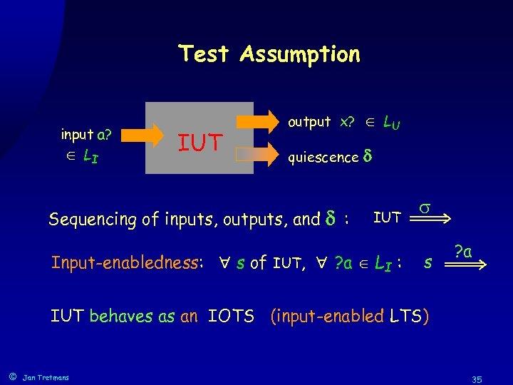 Test Assumption input a? LI IUT output x? LU quiescence Sequencing of inputs, outputs,