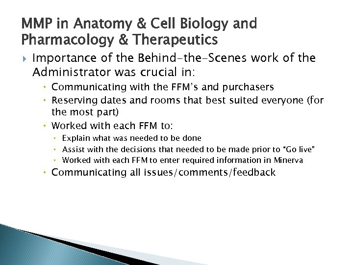 MMP in Anatomy & Cell Biology and Pharmacology & Therapeutics Importance of the Behind-the-Scenes