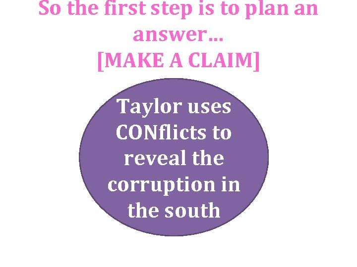 So the first step is to plan an answer… [MAKE A CLAIM] Taylor uses
