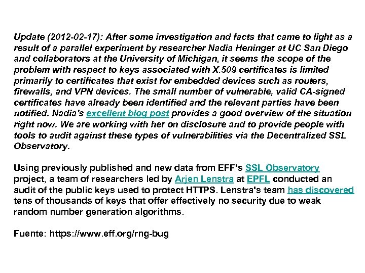 Update (2012 -02 -17): After some investigation and facts that came to light as