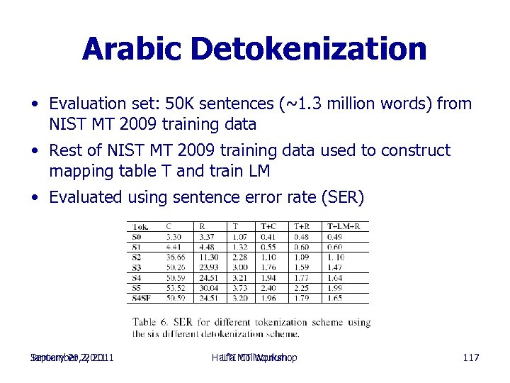 Arabic Detokenization • Evaluation set: 50 K sentences (~1. 3 million words) from NIST