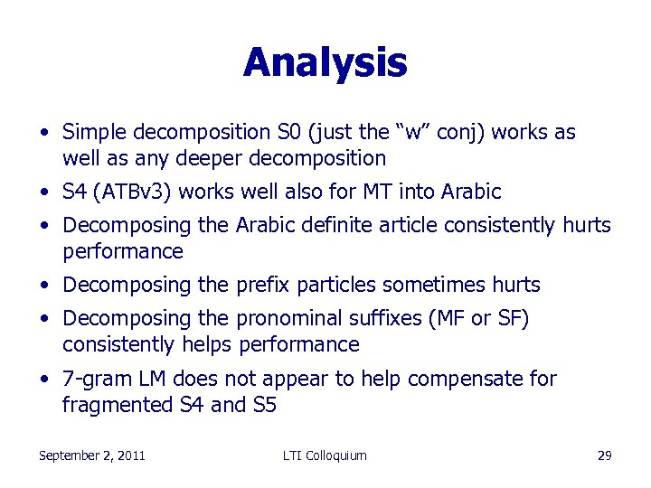 "Analysis • Simple decomposition S 0 (just the ""w"" conj) works as well as"