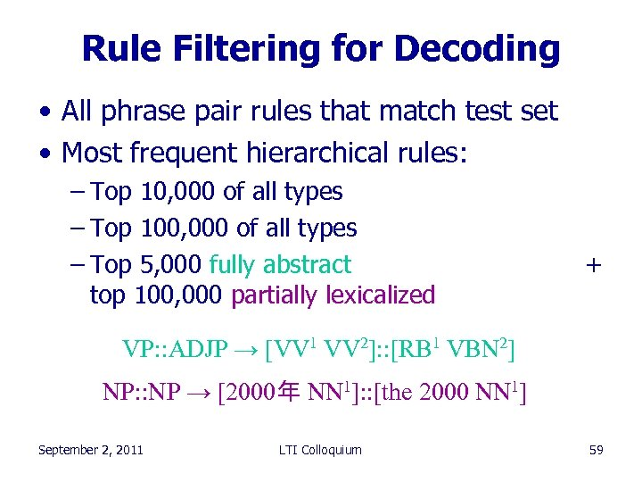 Rule Filtering for Decoding • All phrase pair rules that match test set •