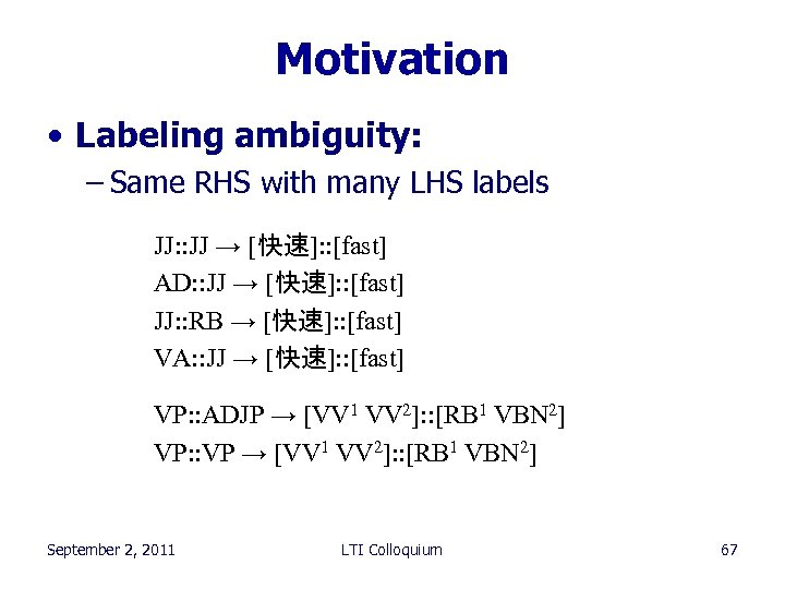 Motivation • Labeling ambiguity: – Same RHS with many LHS labels JJ: : JJ