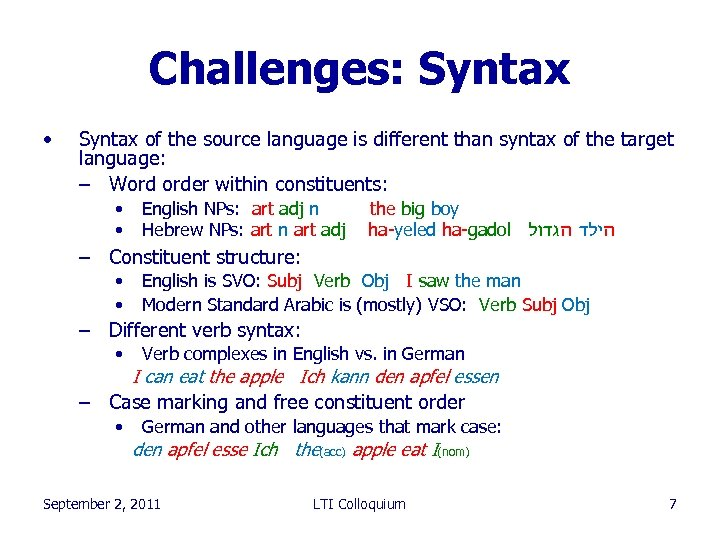 Challenges: Syntax • Syntax of the source language is different than syntax of the