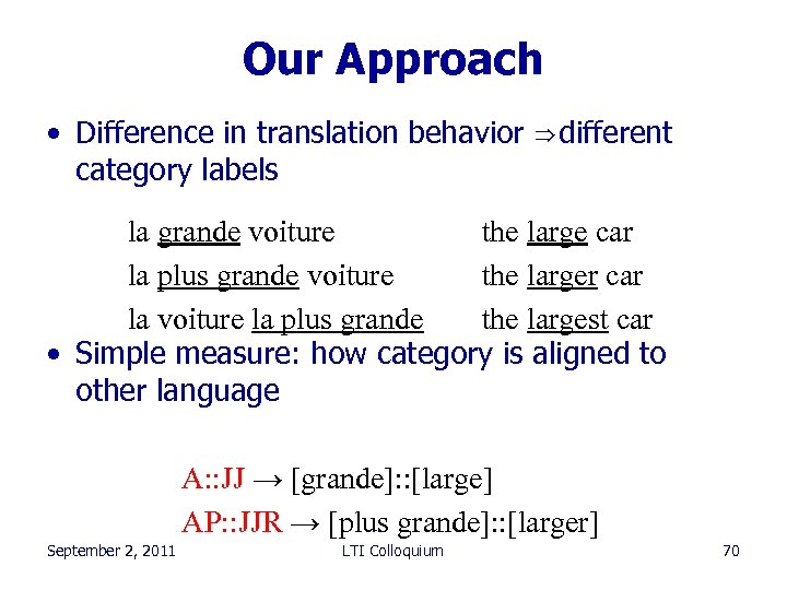Our Approach • Difference in translation behavior ⇒ different category labels la grande voiture