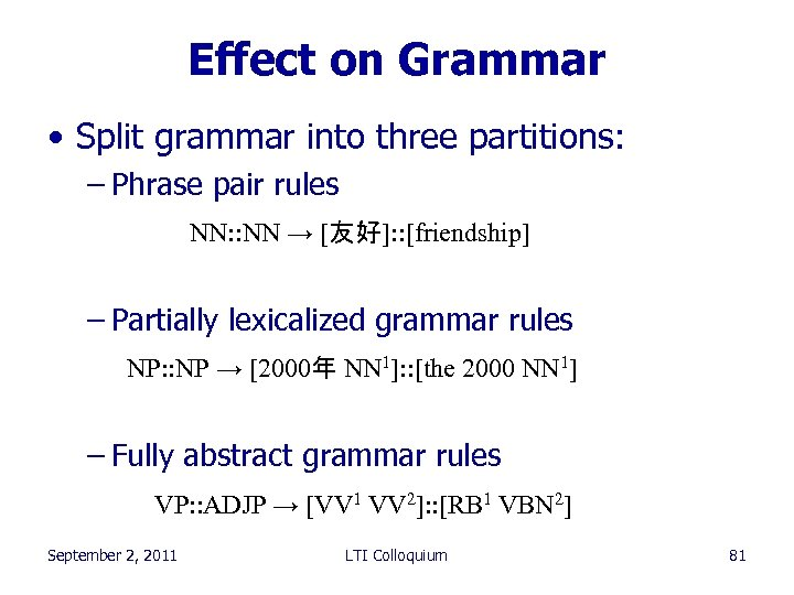 Effect on Grammar • Split grammar into three partitions: – Phrase pair rules NN: