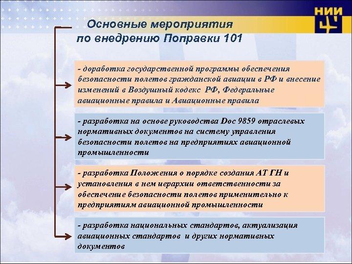 Основные мероприятия по внедрению Поправки 101 - доработка государственной программы обеспечения безопасности полетов гражданской