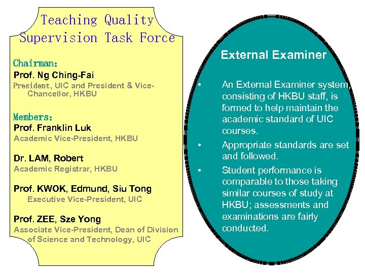 Teaching Quality Supervision Task Force External Examiner Chairman: Prof. Ng Ching-Fai President, UIC and