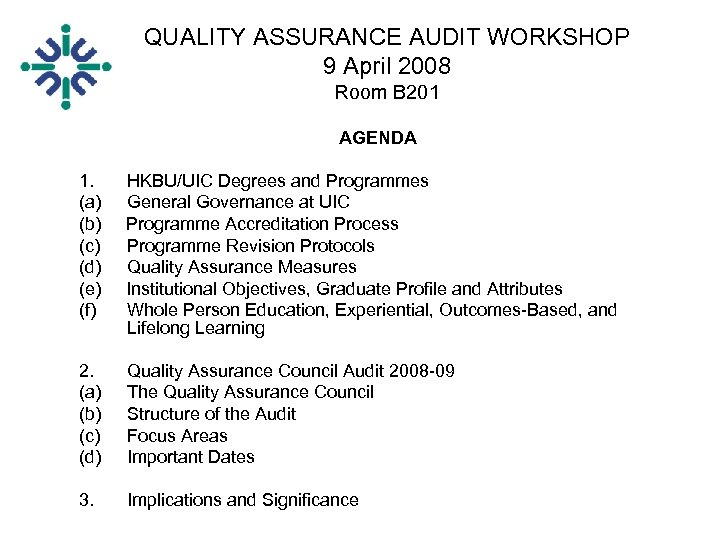 QUALITY ASSURANCE AUDIT WORKSHOP 9 April 2008 Room B 201 AGENDA 1. HKBU/UIC Degrees