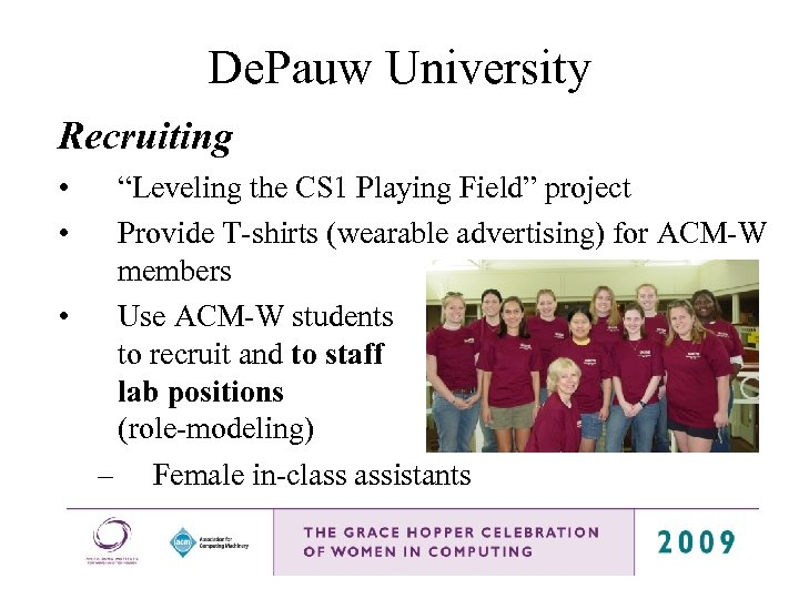 """De. Pauw University Recruiting • • """"Leveling the CS 1 Playing Field"""" project Provide"""