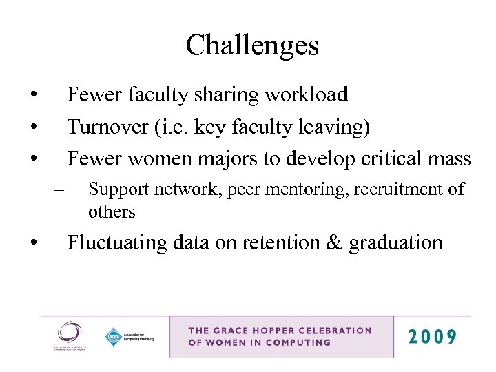 Challenges • • • Fewer faculty sharing workload Turnover (i. e. key faculty leaving)