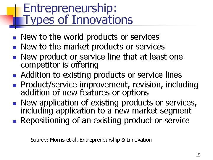 Entrepreneurship: Types of Innovations n n n n New to the world products or