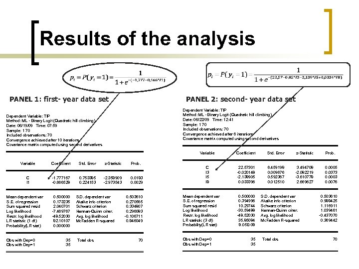 Results of the analysis PANEL 1: first- year data set PANEL 2: second- year