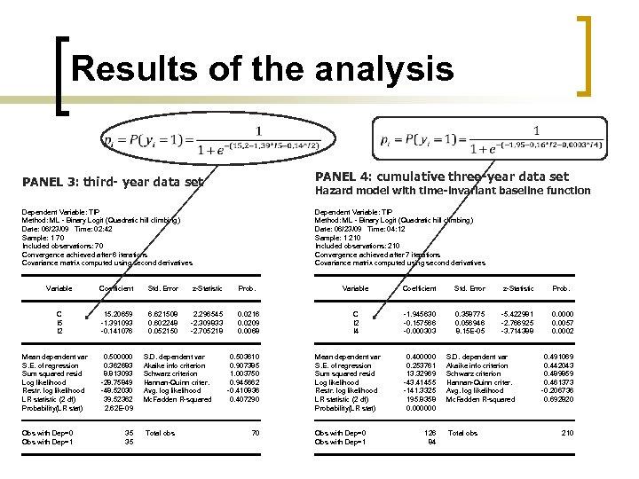 Results of the analysis PANEL 4: cumulative three-year data set PANEL 3: third- year