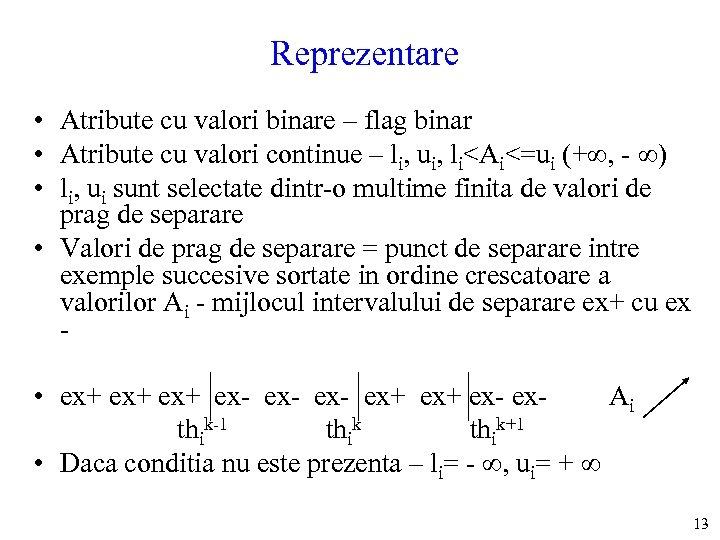 Reprezentare • Atribute cu valori binare – flag binar • Atribute cu valori continue