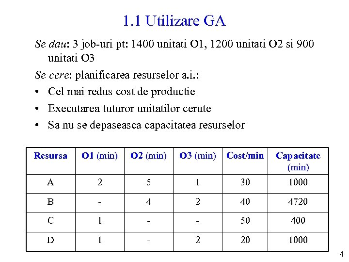 1. 1 Utilizare GA Se dau: 3 job-uri pt: 1400 unitati O 1, 1200