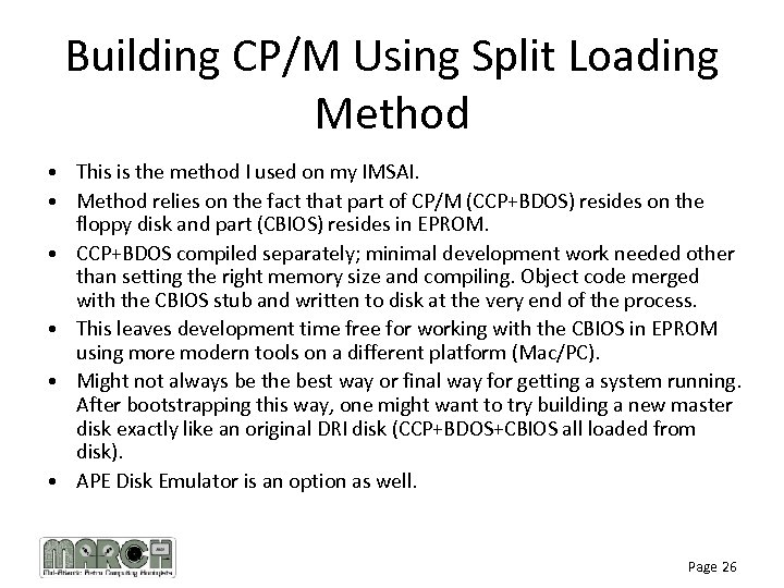 Building CP/M Using Split Loading Method • This is the method I used on