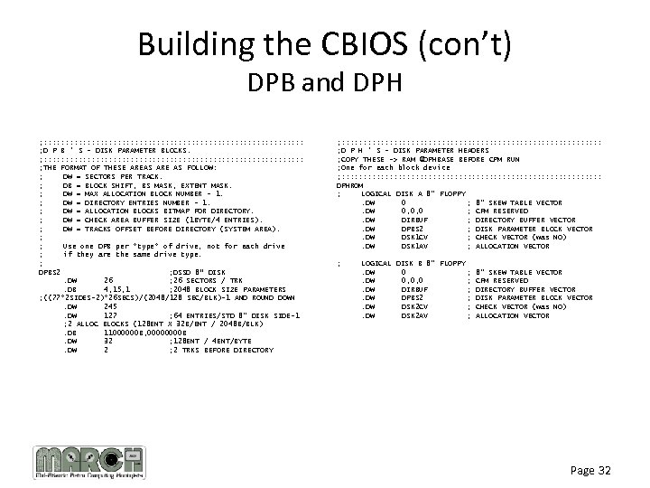 Building the CBIOS (con't) DPB and DPH ; : : : : : :