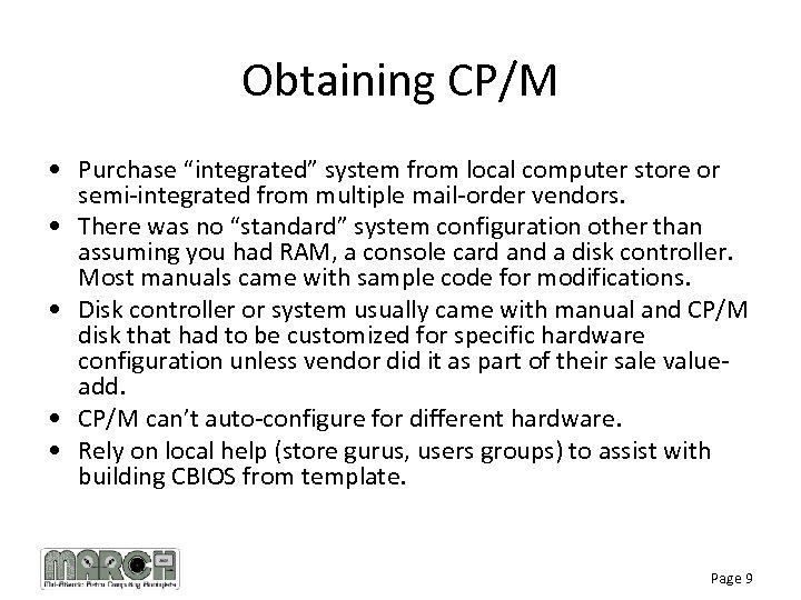 """Obtaining CP/M • Purchase """"integrated"""" system from local computer store or semi-integrated from multiple"""