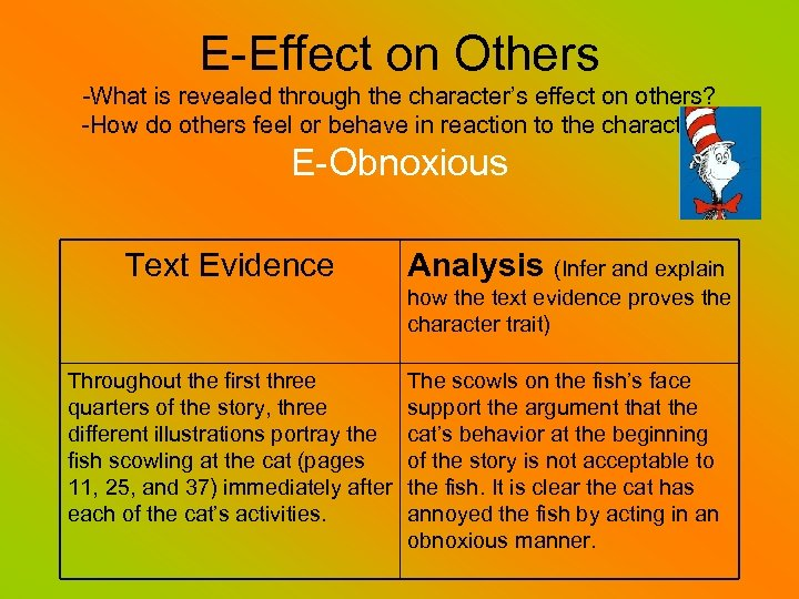 E-Effect on Others -What is revealed through the character's effect on others? -How do