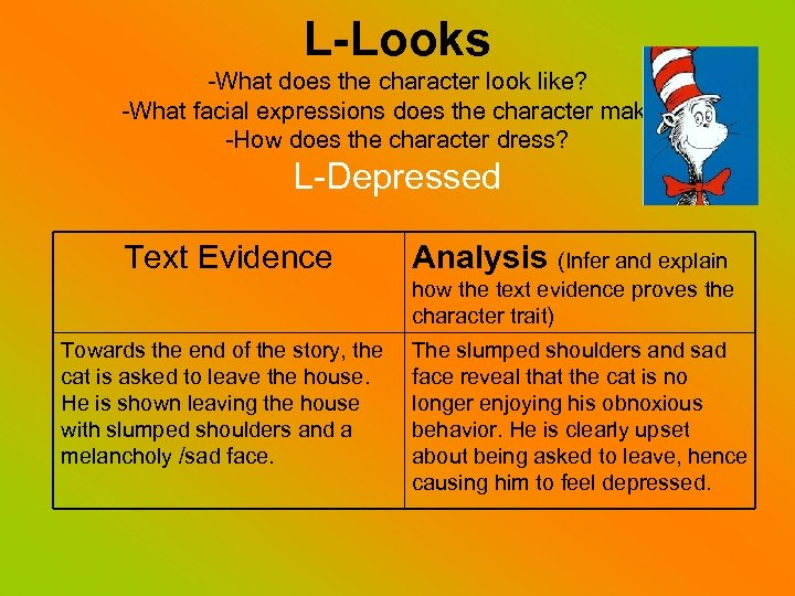 L-Looks -What does the character look like? -What facial expressions does the character make?
