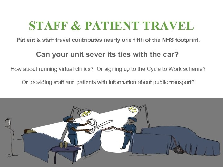STAFF & PATIENT TRAVEL Patient & staff travel contributes nearly one fifth of the