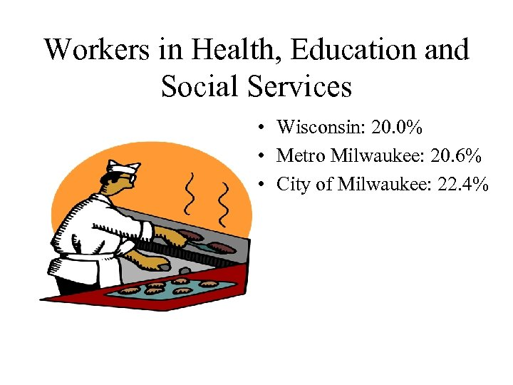 Workers in Health, Education and Social Services • Wisconsin: 20. 0% • Metro Milwaukee: